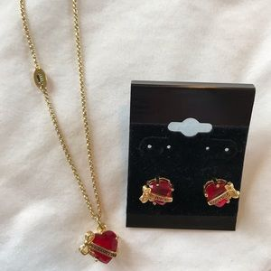 Juicy Couture red heart necklace and earrings set
